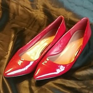 Jessica Simpson Red patent almond toe wedges